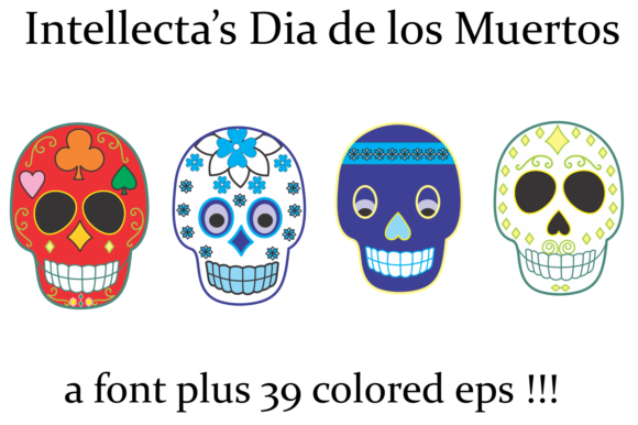 Print on Demand: Dia De Los Muertos Dingbats Font By Intellecta Design - Image 3