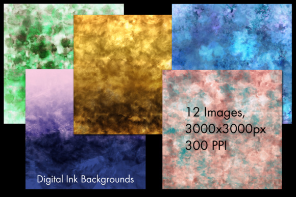 Print on Demand: Digital Ink Backgrounds - 12 Image Set Graphic Backgrounds By SapphireXDesigns - Image 2