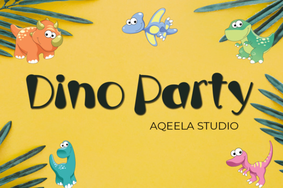 Print on Demand: Dino Party Script & Handwritten Font By Aqeela Studio