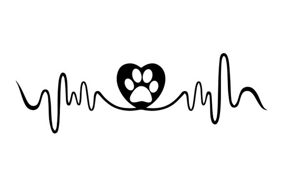 Download Free Dog Paw With Heart And Heart Beat Graphic By Zaibbb Creative for Cricut Explore, Silhouette and other cutting machines.