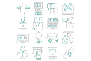 Print on Demand: Education Icons Set Graphic Icons By back1design1