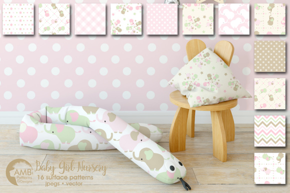 Download Free Elephant Nursery Papers Graphic By Ambillustrations Creative for Cricut Explore, Silhouette and other cutting machines.