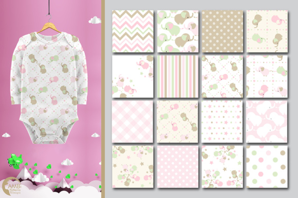 Elephant Nursery Papers Graphic Patterns By AMBillustrations - Image 3