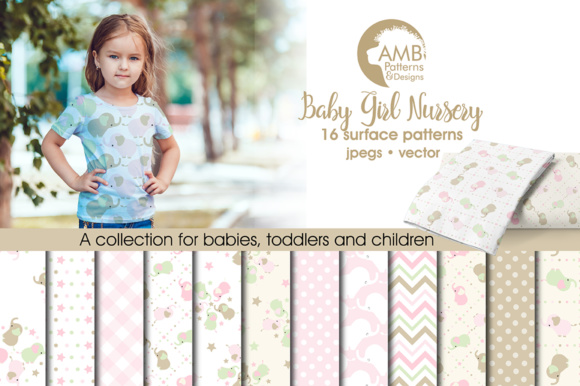 Elephant Nursery Papers Graphic Patterns By AMBillustrations