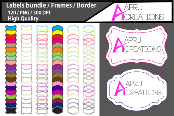 Print on Demand: Empty Labels and Frames / 120 Blank Blank Labels Bundle Graphic Crafts By aparnastjp - Image 1