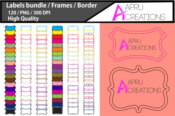 Print on Demand: Empty Labels and Frames / 120 Blank Frames Bundle Graphic Crafts By aparnastjp