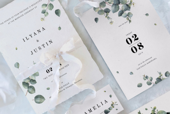 Print on Demand: Eucalyptus Foliage Wedding Suite Graphic Print Templates By Blue Robin Design Shop