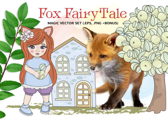 Print on Demand: Fox Fairy Tale Cartoon Color Vector Illustration Set Graphic Illustrations By FARAWAYKINGDOM