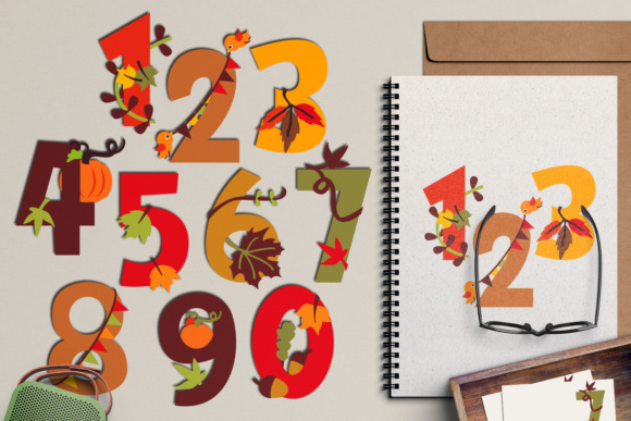 Download Free Fall Autumn Numbers Graphic By Revidevi Creative Fabrica for Cricut Explore, Silhouette and other cutting machines.