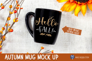Fall / Autumn / Thanksgiving Black Mug Mock Up - High-res  Graphic Product Mockups By maemiddletonstudio