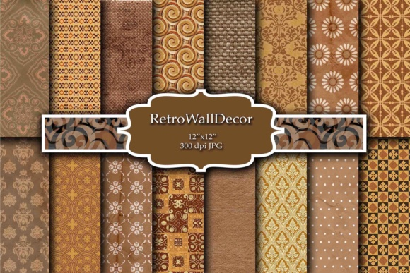Print on Demand: Fall Digital Paper Graphic Backgrounds By retrowalldecor