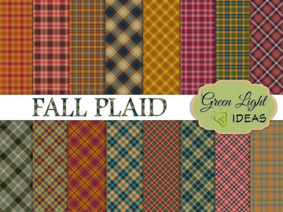 Fall Plaid Digital Papers Graphic Backgrounds By GreenLightIdeas