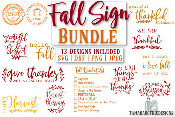 Download Free Fall Sign Bundle Thanksgiving Graphic By Tamarabotriedesigns for Cricut Explore, Silhouette and other cutting machines.