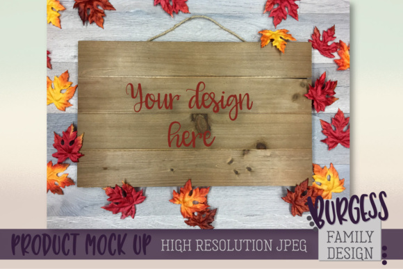 Fall Wood Sign MOCK UP Graphic By burgessfamilydesign