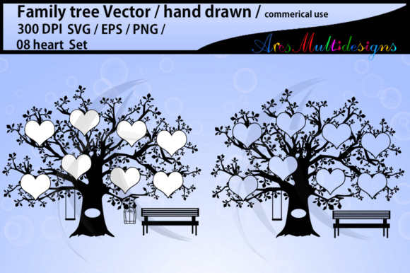 Print on Demand: Family Tree Clipart 08 Hearts SVG Graphic Illustrations By Arcs Multidesigns