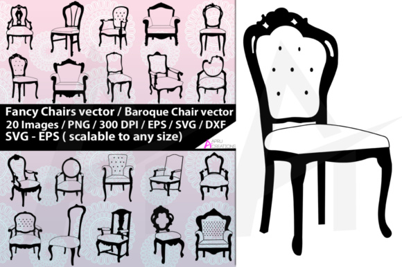Download Free Fancy Chairs Silhouette Graphic By Aparnastjp Creative Fabrica for Cricut Explore, Silhouette and other cutting machines.