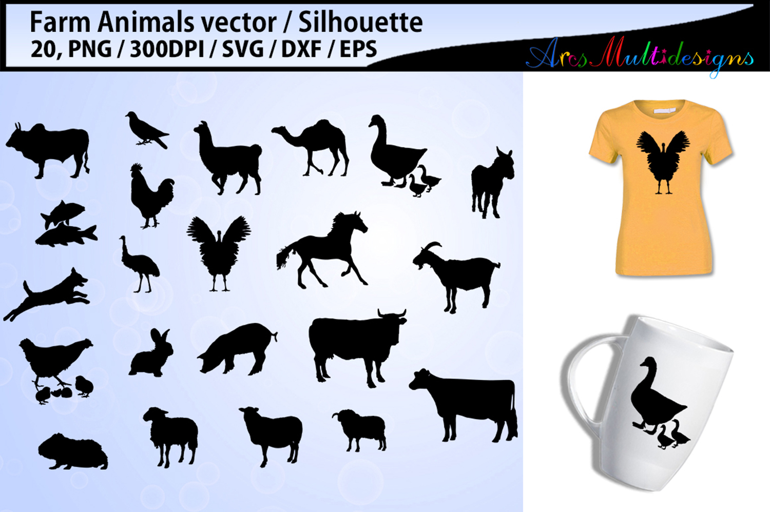 Download Free Farm Animals Silhouettes Svg Graphic By Arcs Multidesigns for Cricut Explore, Silhouette and other cutting machines.