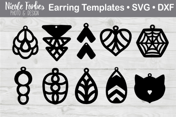 Download Free Faux Leather Earring Svg Graphic By Nicole Forbes Designs for Cricut Explore, Silhouette and other cutting machines.