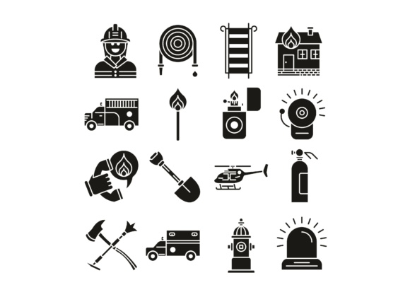 Download Free Firefighter Icons Set Graphic By Back1design1 Creative Fabrica for Cricut Explore, Silhouette and other cutting machines.
