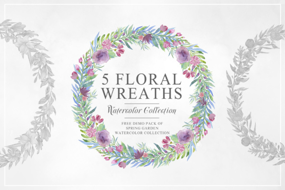 Five Floral Watercolor Wreaths Graphic Illustrations By Creative Fabrica Freebies