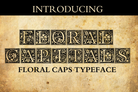 Print on Demand: Floral Capitals Decorative Font By vladimirnikolic