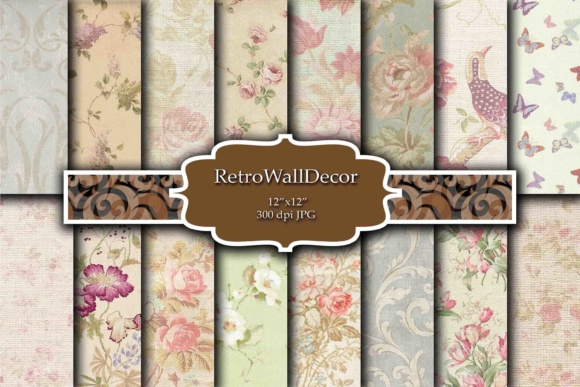 Print on Demand: Floral Digital Paper Grafik Hintegründe von retrowalldecor