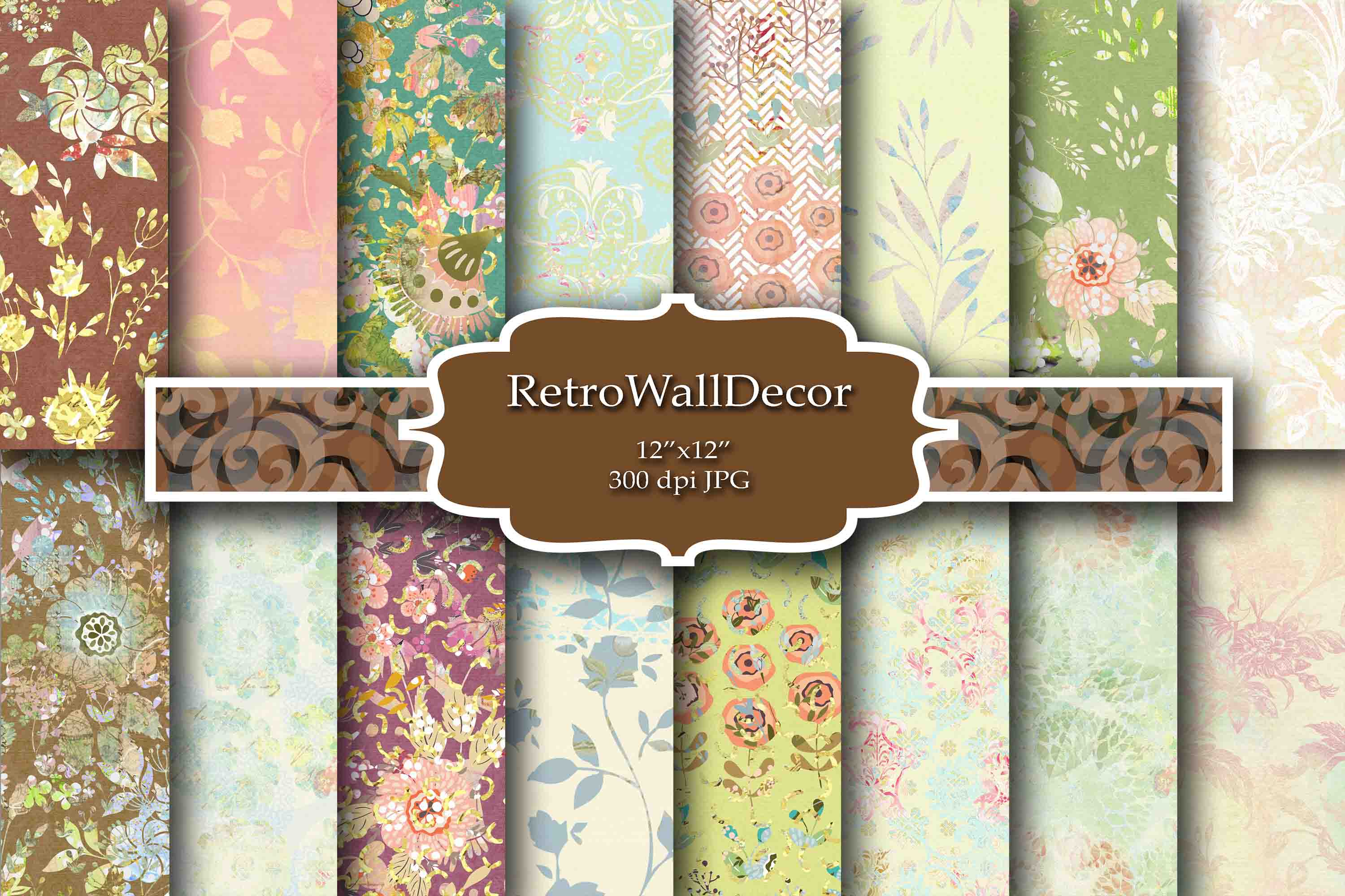Download Free Floral Digital Paper Graphic By Retrowalldecor Creative Fabrica for Cricut Explore, Silhouette and other cutting machines.