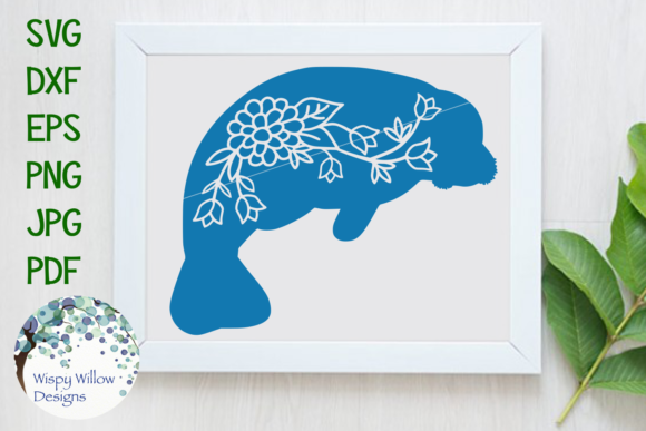 Floral Manatee Graphic By Wispywillowdesigns Creative Fabrica