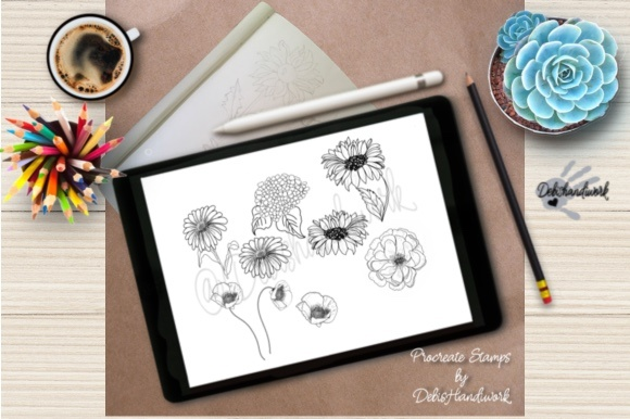 Floral Procreate Stamps Graphic Brushes By Debra Covington