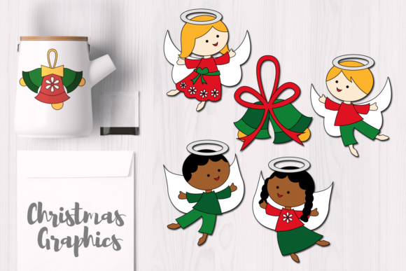 Print on Demand: Flying Angels and Bells, December Christmas Graphics Graphic Illustrations By Revidevi