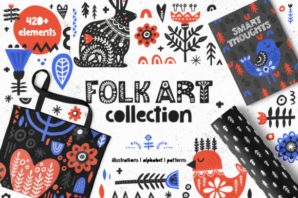Folk Art Collection Graphic Illustrations By Favete Art