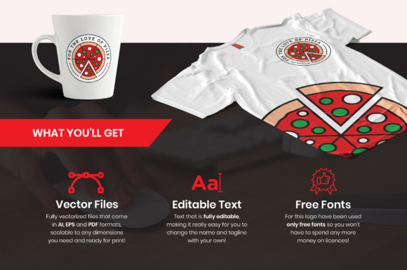 For The Love Of Pizza Logo Template Graphic By Design A Lot Creative Fabrica