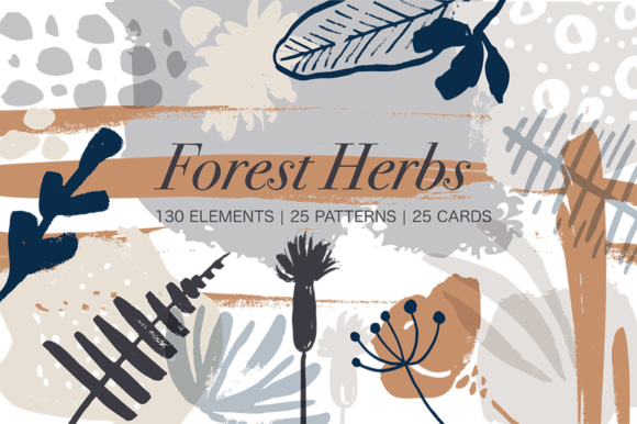 Print on Demand: Forest Herbs Big Graphic Set Gráfico Ilustraciones Por Red Ink