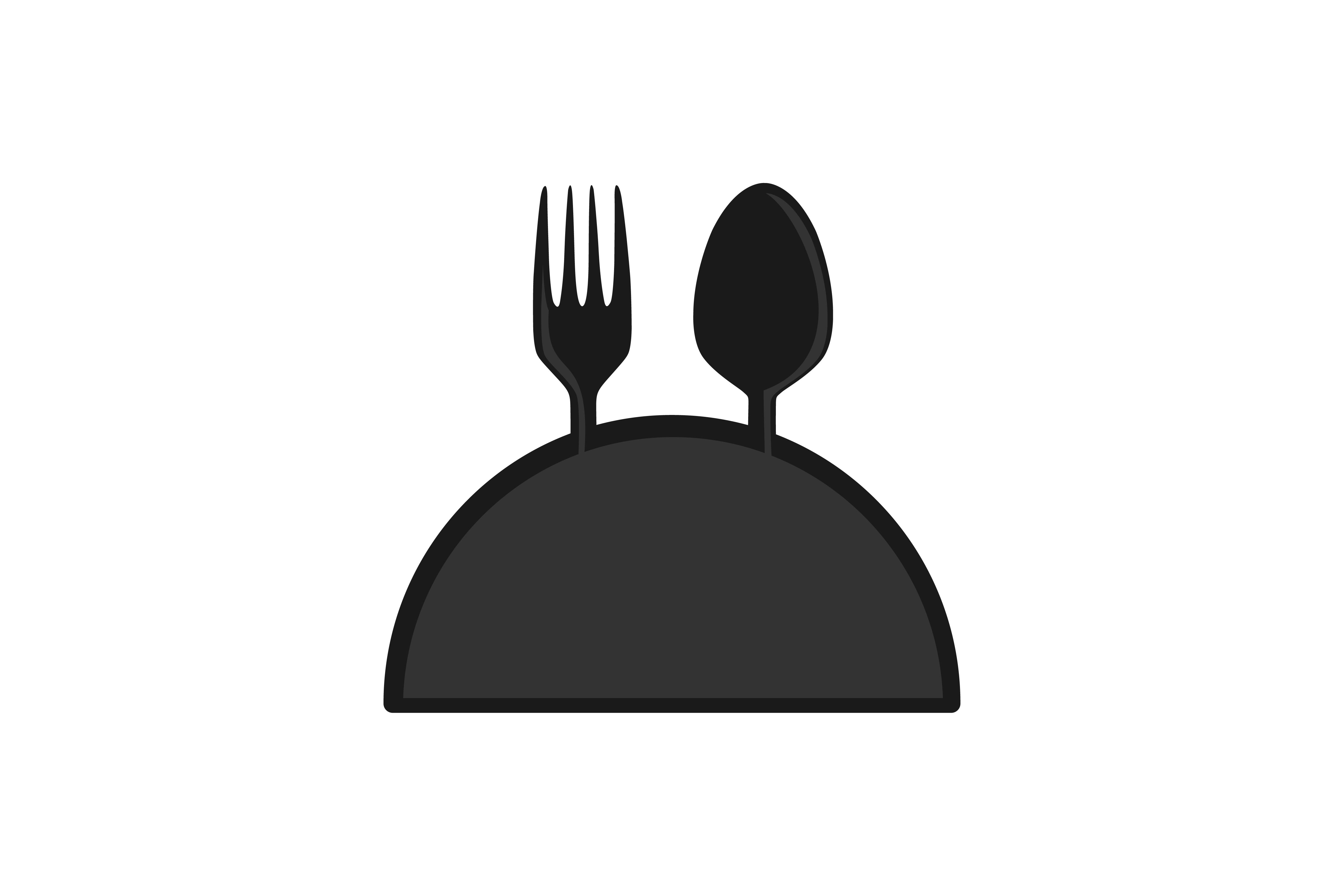 Download Free Fork And Spoon With Plate Restaurant Logo Graphic By for Cricut Explore, Silhouette and other cutting machines.