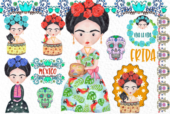 Frida Kahlo Clipart Mexican Clipart Graphic Illustrations By vivastarkids - Image 1