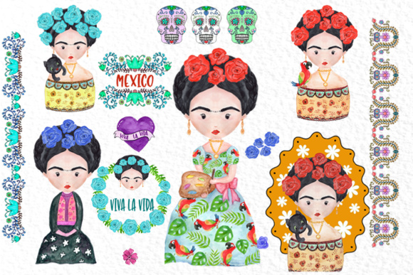 Frida Kahlo Clipart Mexican Clipart Graphic Illustrations By vivastarkids - Image 2