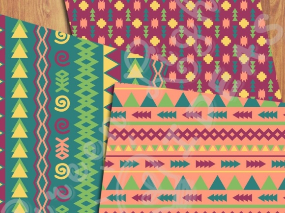 Fun Tribal Digital Papers Graphic Backgrounds By GreenLightIdeas - Image 2