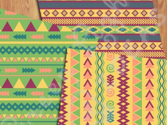 Fun Tribal Digital Papers Graphic Backgrounds By GreenLightIdeas - Image 4