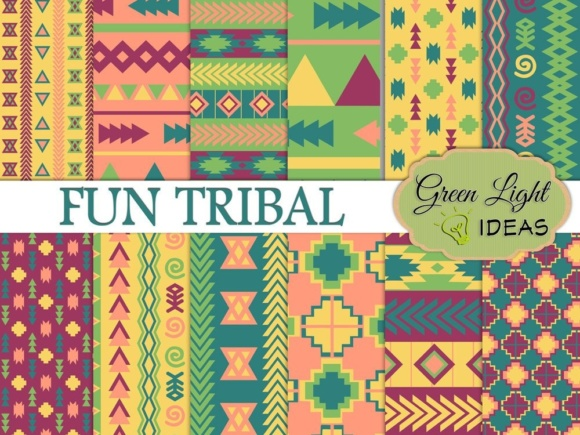 Fun Tribal Digital Papers Graphic Backgrounds By GreenLightIdeas