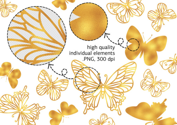 Print on Demand: GOLDEN BUTTERFLIES Color Illustration Digital Paper Set Graphic Illustrations By FARAWAYKINGDOM - Image 2