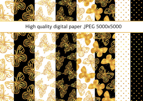 Print on Demand: GOLDEN BUTTERFLIES Color Illustration Digital Paper Set Graphic Illustrations By FARAWAYKINGDOM - Image 3