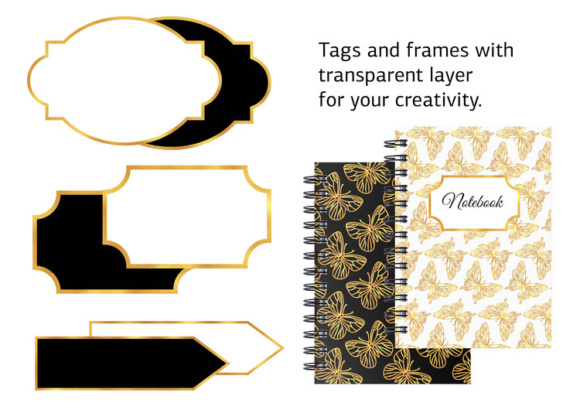 Print on Demand: GOLDEN BUTTERFLIES Color Illustration Digital Paper Set Graphic Illustrations By FARAWAYKINGDOM - Image 4