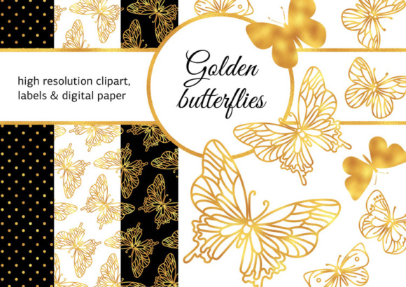 GOLDEN BUTTERFLIES Color Illustration Digital Paper Set Graphic Illustrations By FARAWAYKINGDOM