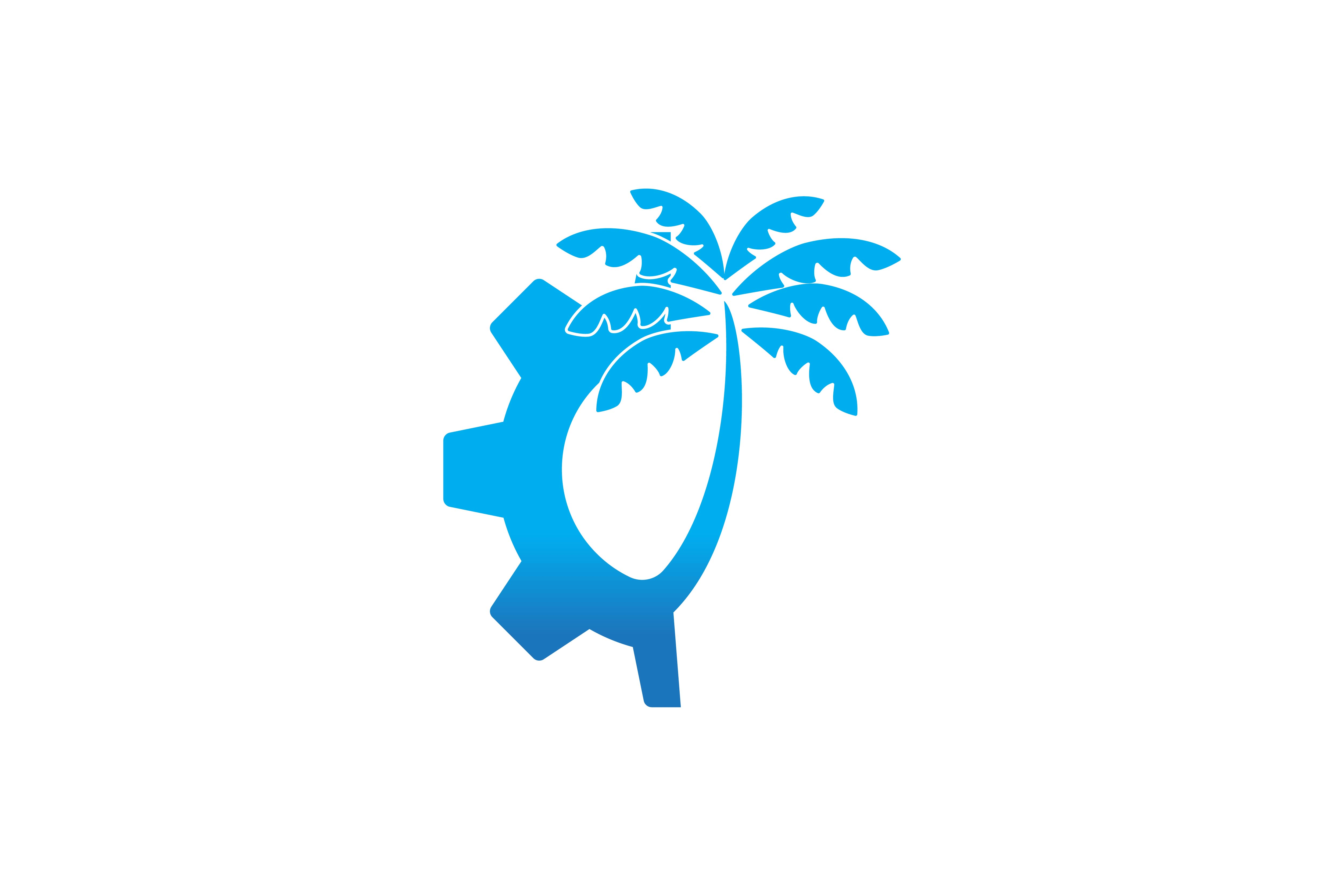 Download Free Gear And Palm Tree Logo Graphic By Yahyaanasatokillah Creative for Cricut Explore, Silhouette and other cutting machines.