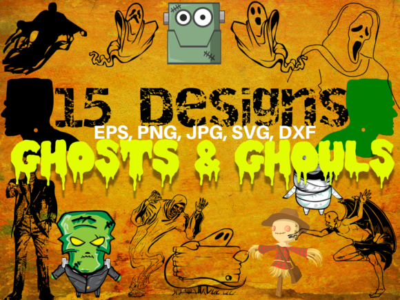 Print on Demand: Ghosts and Ghouls Halloween Bundle Graphic Illustrations By Quiet Deluxe Digital - Image 1