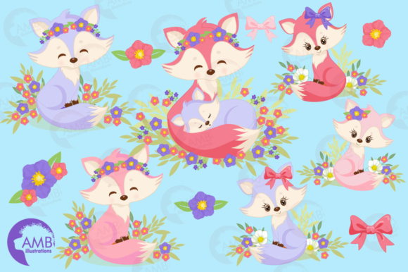 Girl Foxes Clipart Graphic Illustrations By AMBillustrations - Image 4