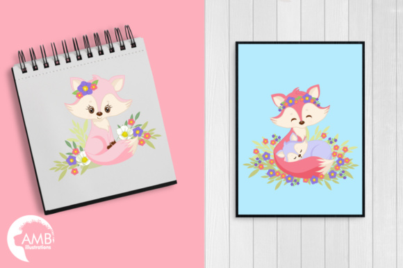 Girl Foxes Clipart Graphic Illustrations By AMBillustrations - Image 5