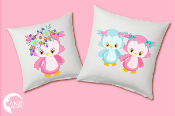 Girly Owl Clipart Graphic Illustrations By AMBillustrations - Image 3