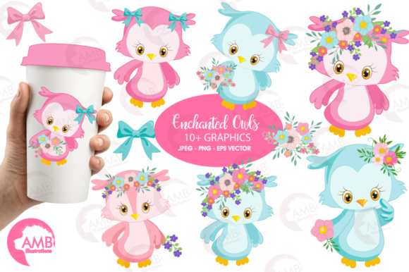 Girly Owl Clipart Graphic Illustrations By AMBillustrations