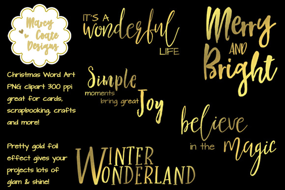 Download Free Gold Christmas Word Art Graphic By Marcycoatedesigns Creative for Cricut Explore, Silhouette and other cutting machines.